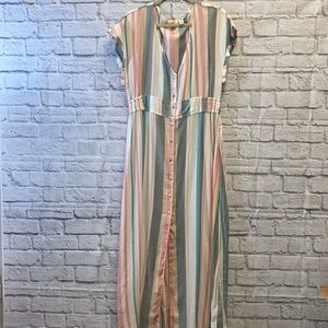 Roxy Pastel Striped Maxi Dress XL NWOT